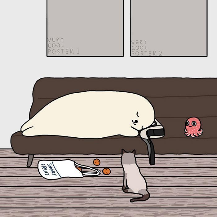 Повседневная жизнь тюленей в иллюстрациях